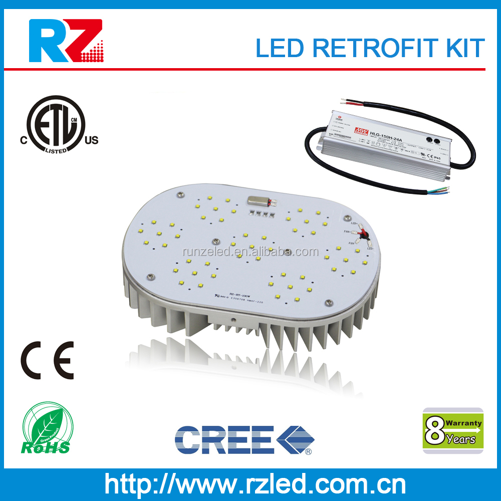 8 years warranty ETL/cETL 135lm/w 35w led retro-fit kit 100-277vac mean well driver
