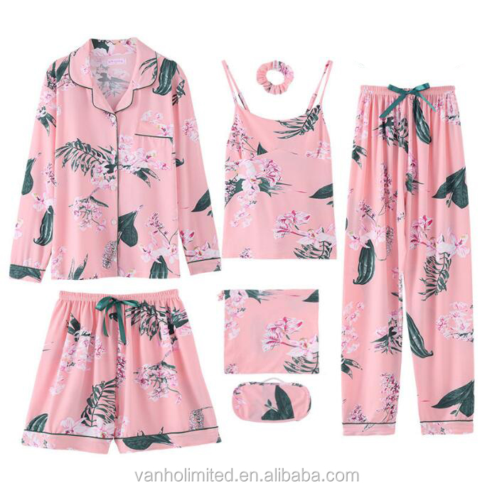 women cotton pajama set seven pieces complete set of sleepwear