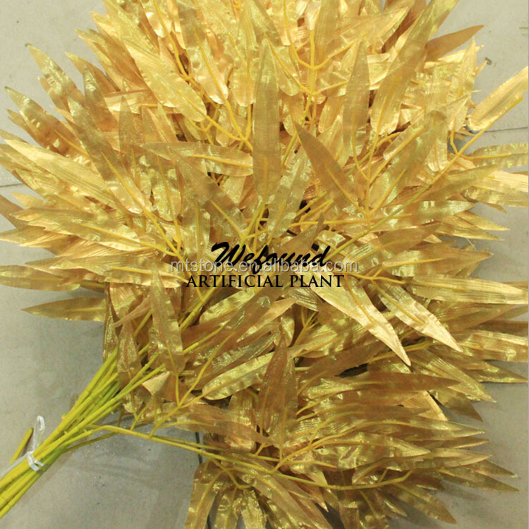 BL15217 Artificial Bamboo Leaves Silk Golden Leaves for Decoration