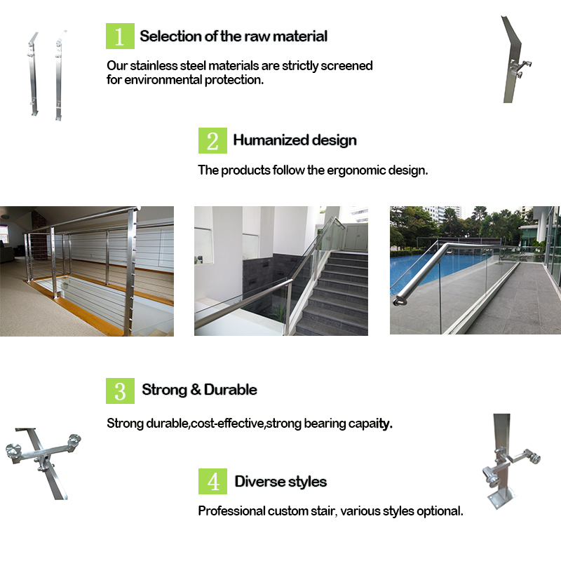 Stainless Steel Glass Balustrade Railings Handrail Post