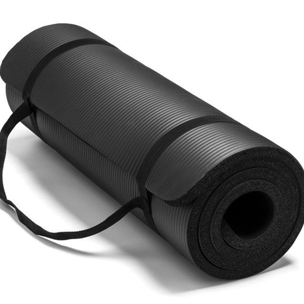 Fitness Exercise High Quality Nbr Black Yoga Mat With