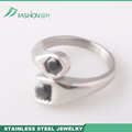 316l women stainless steel ring with black zircon