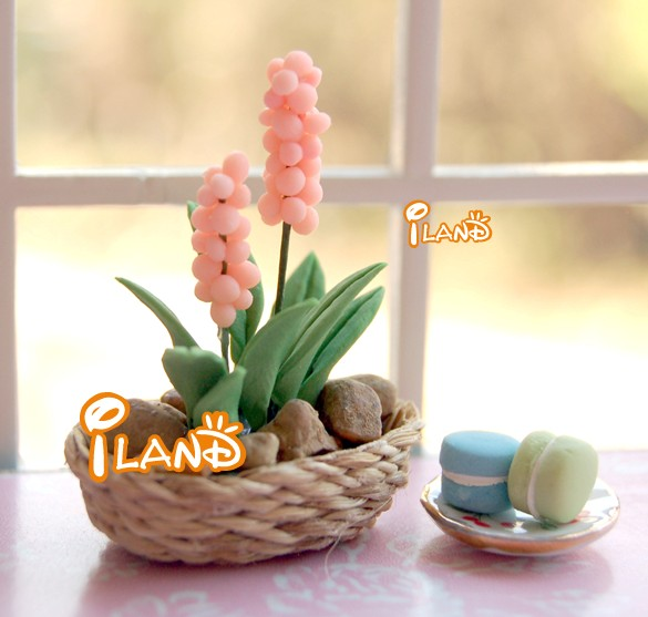 Mini Artificial Hyacinth Doll house Fairy Garden Flower Hyacinth Pink/Purple OP007+BB