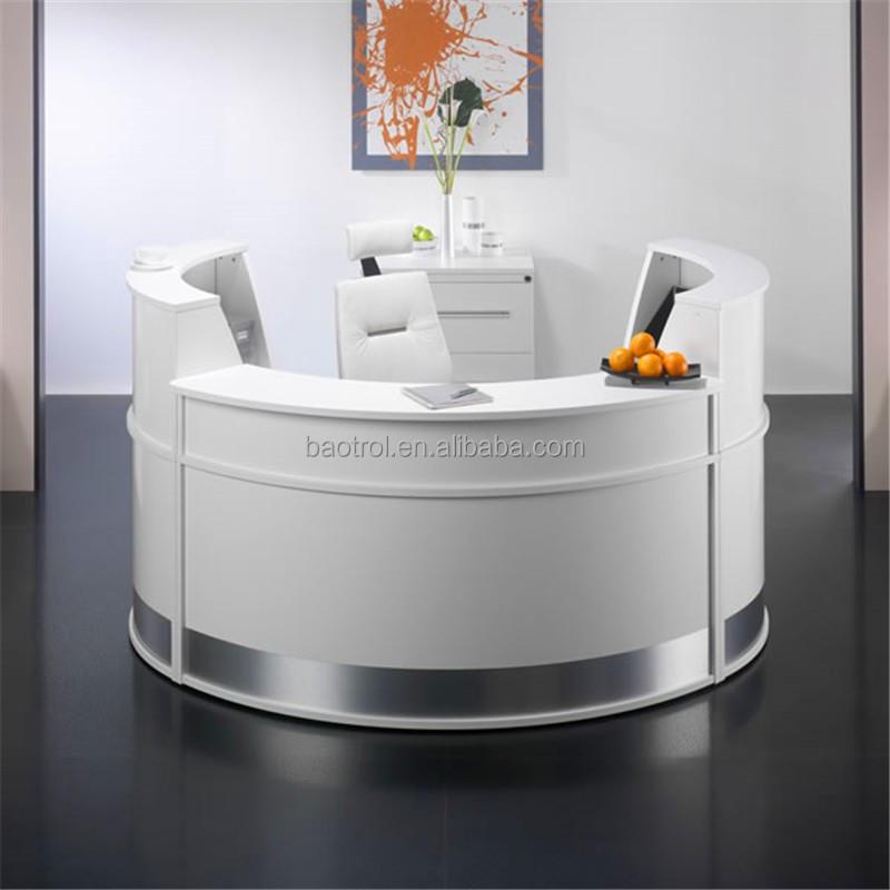 office front desk design artificial stone small round reception