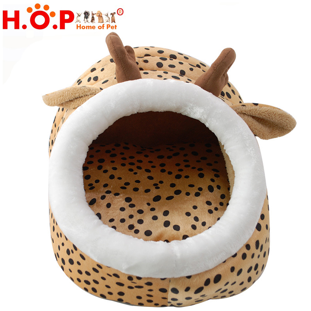 New Animal Design Brown Dog Shaped Full Sized Round Pet Beds With Removable Cushion