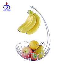 Decorative Modern Design Chrome Wire Fruit Basket With Banana Holder