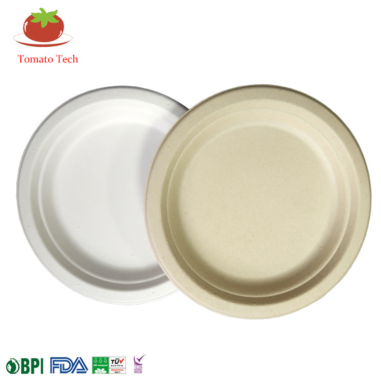 Compostable Biodegradable Sugarcane Dinnerware Bagasse Paper Pulp 7inch Round Plate