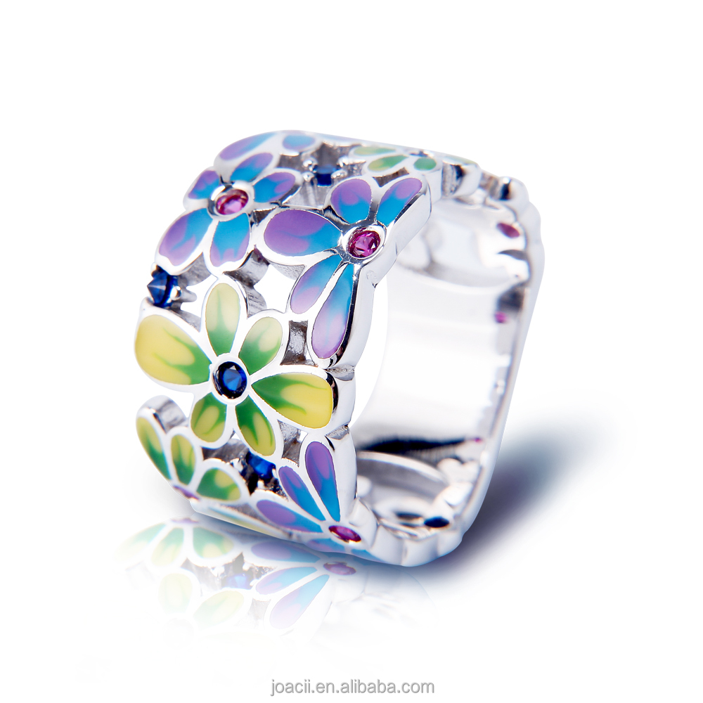 Joacii Fashion Colorful Enamel Ruby Stone 925 Silver Jewelry Ring with 18K White Gold Plated for Women and men