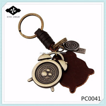 PC0041 Punk Leather Keychain Lovely Clock Charms Leather Factory custom metal keychain