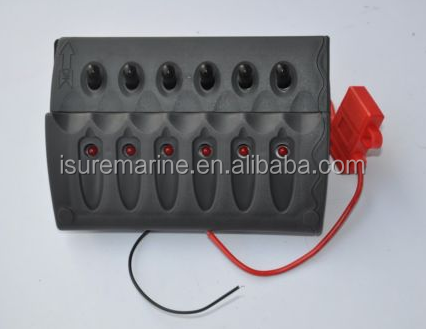 Waterproof Black 6 Gang Marine Boat Caravan LED Switch Panel From ISURE MARINE