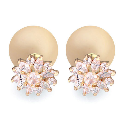 Fine Jewelry Unique Fashion Accessories Luxury AAA Zircon Crystal Candy Ball Handmade Daisy Snowflakes Gold Stud Earrings Women