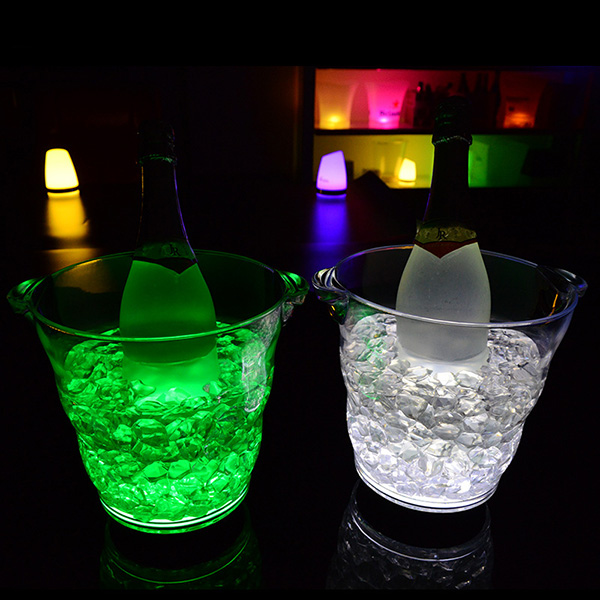 Wave Shaped LED Ice Bucket Champagne Luminous Colors Beer Buckets For Bars Party Decoration
