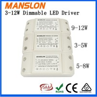 Manslon triac dimmable series 4-7x1w high PF dimming led driver 300ma constant current led lighting power supply