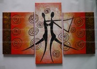 100% Hand-painted abstract African Black Women painting oils on canvas Silhouette Dancing Stretched Four Panels