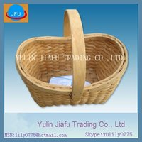 Handmade weaving honey colour with handle boat wooden chip basket