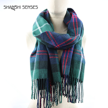 Ladies Green Warm Winter Plaid Blanket Scarf