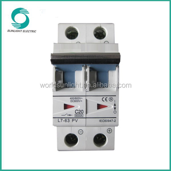 L7 Polarity c20 DC 800V 6KA triangle indicator window 1P~4P 3 phase earth leakage circuit breaker MCB