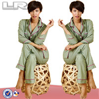 Plus Size Emerald Foulard Classic Printed Notched Collsar Cotton PJ Set for Women Loungewear