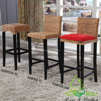 Restaurant Club Pub Furniture Set Rattan Bamboo Wooden Leather Height Adjustable Lift High Back Home Counter Bar Stool Chair