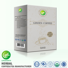Lifeworth green instant white coffee flavor 100% natural organic instant coffee raw materials
