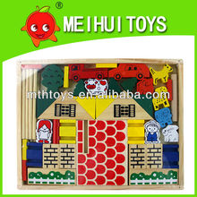 Educational wooden baby village building blocks toys,education wooden toys,wood building blocks toys