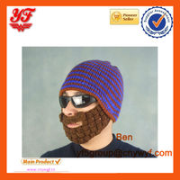 Wacky Beard Men Boy Beanie Mask Face with beard Warmer Warm Knit Crocheted Ski Hat with beard