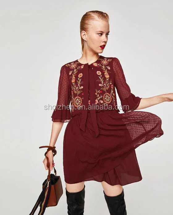 Western styles long ruffles sleeve embroidered dresses women elegant wholesale lady alibaba chiffon dress with tie