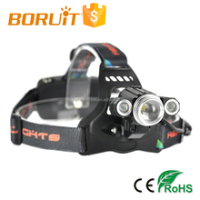 Boruit 900lm 3 modes 1*Cree XML- T6+ 2*Cree XPE led rechargeable camping headlamp