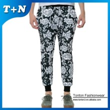 black flroral sublimation skinny slim fit sweatpants