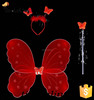 Fancy Girls Party Decorations Kids Butterfly Fairy Wing Red Nylon Butterfly Wings Sets