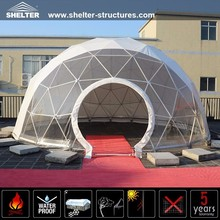 Small half transparent steel dome tent for event