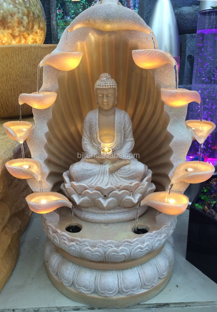 indoor led natural resin decorative buddha water fountain