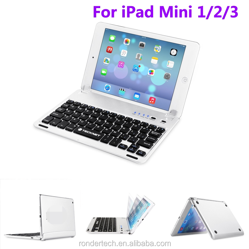 Stylish Ultra-Thin Metal Bluetooth Keyboard Case for iPad Mini 1/2/3 with Built-in Stand Groove