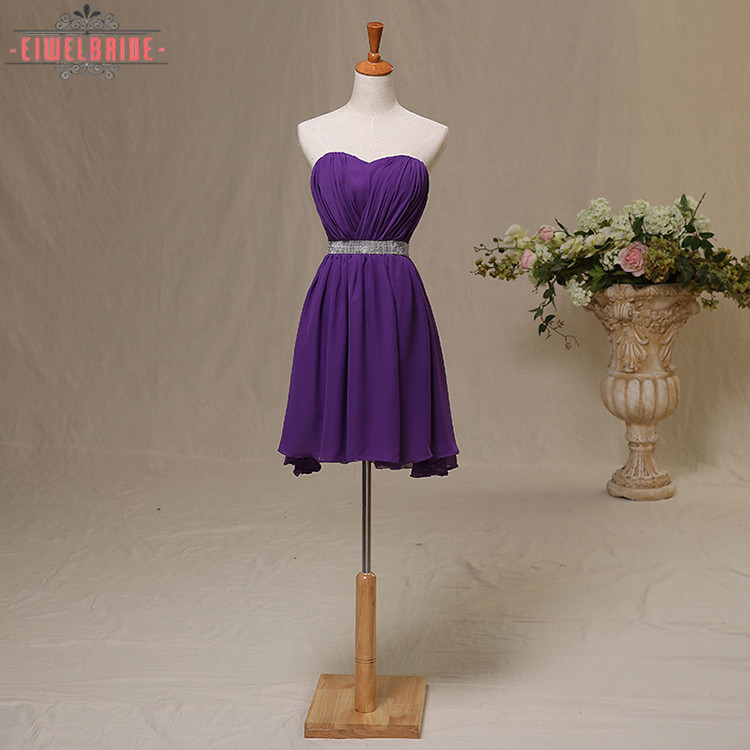 Latest Chiffon Purple Evening Short Dress with belt For Christmas