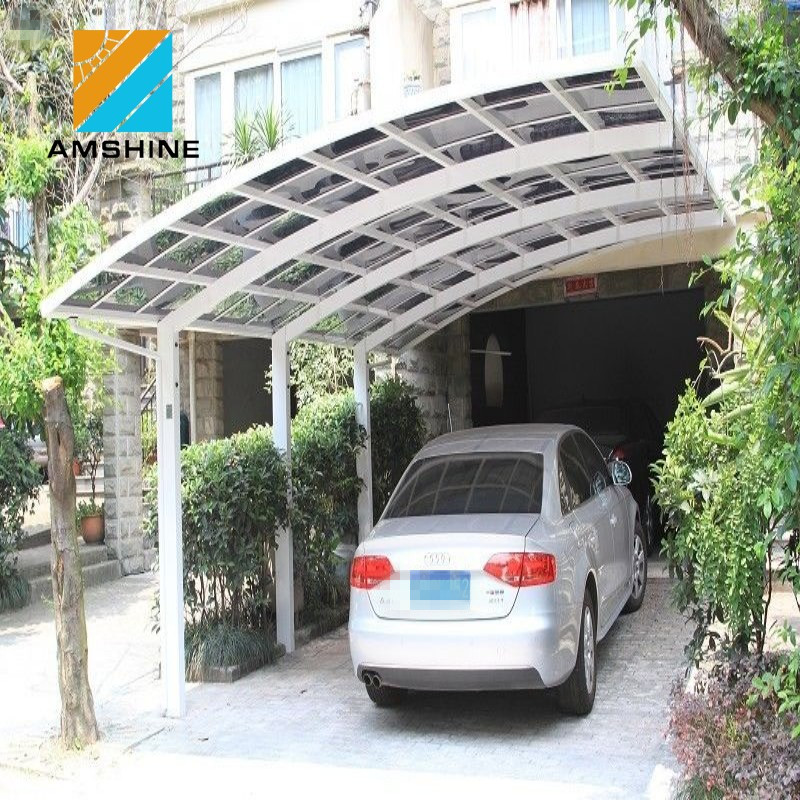 cantilever curved roof design white color polycarbonate carport
