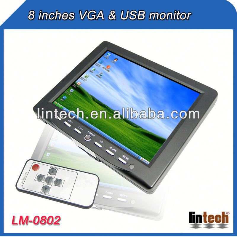 China supplier 8 inch touch screen tv tuner box for lcd monitor with VGA USB