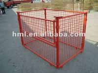 wire cage used with wooden pallet