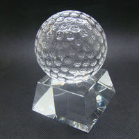 Fashion crystal golf ball with base, crystal sport trophy, crystal gift