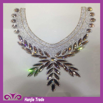 Customed Hand-made women hot fix crystal rhinestones collar for decoration