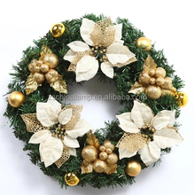 Outdoor Christmas Wire Wreath Rings With Red Color Holiday Items White Color Flower For Home Shope Hotel Decoration