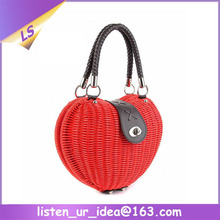 ladies rattan straw material heart shape tote bag