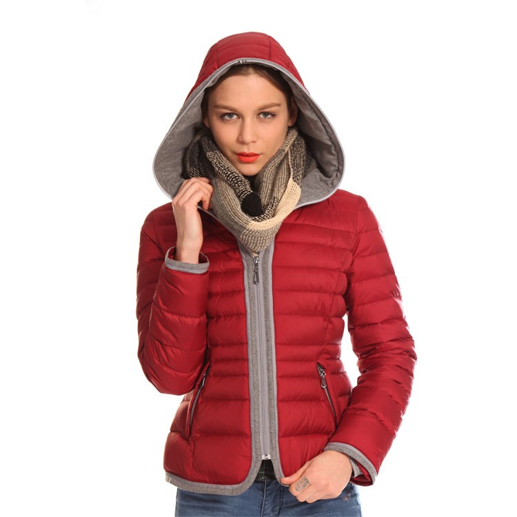 Competitive Price Printed Down Women Fleece Jacket Hooded