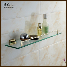 80237 square shelf single tier hanginng shelf glass brass bathroom shelf