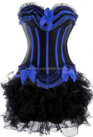instyles colorful hot sale cheap bustier corset western dress corset+dress