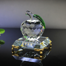 Holiday gift item, attractive diamond cut facted sublimation clear crystal apple