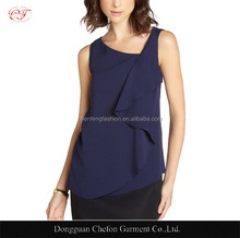 Blouse pictures of casual sleeveless plain mature ladies blouse