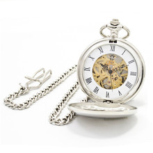 Erotic automaton mechanical Necklace Clock GIFT FOB Vintage Skeleton pocket watch