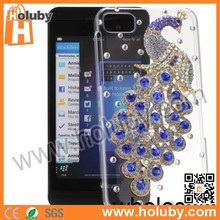For Blackberry Z10 Diamond Case, 3D Beautiful Peacock Transparent Shining Studded Crystal Diamond Hard Case For Blackberry Z10