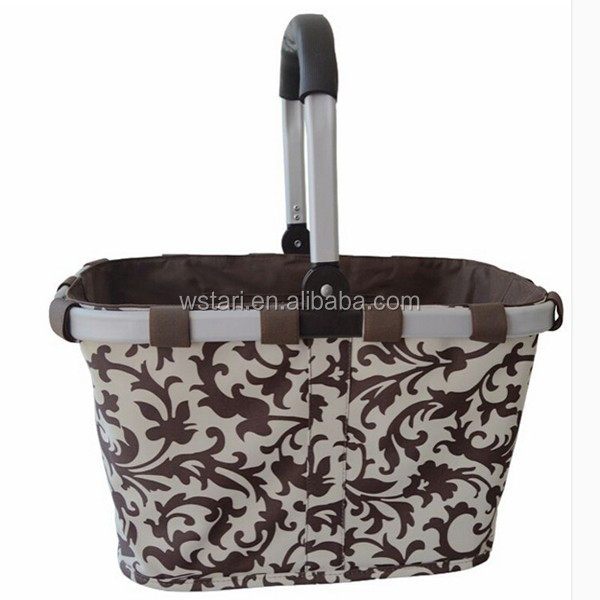 Folding shopping basket for vegetable and picnic market tote Supermarket cart bag, Cooler picnic basket for wines