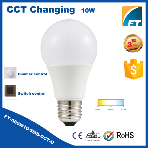 OEM 10w e27 dimmable color change led bulb